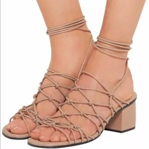 Chloe Knotted Gladiator Sandal 40 nude ankle wrap